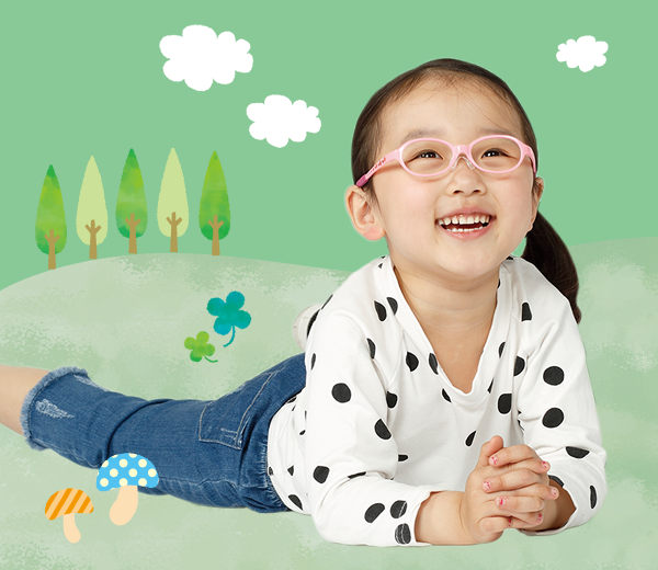 治療を目的にした幼児用眼鏡はずれにくく、丈夫なフレームです。