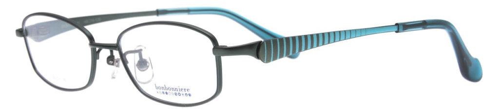 テンプル(ツル)の外側に縞模様が素敵なキッズメガネ