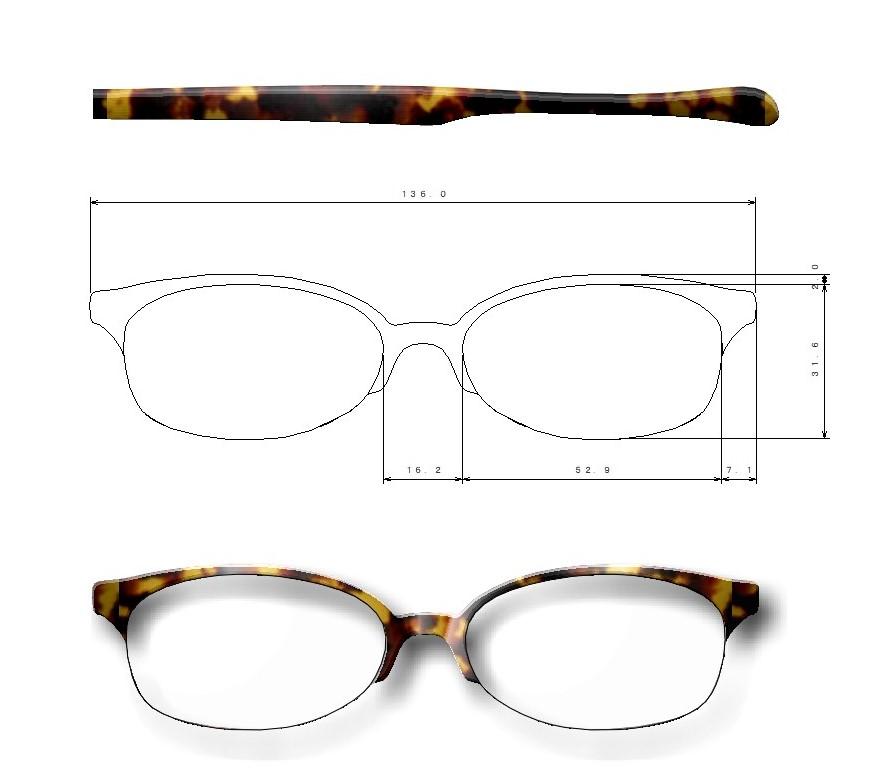 大きいメガネ製造図面