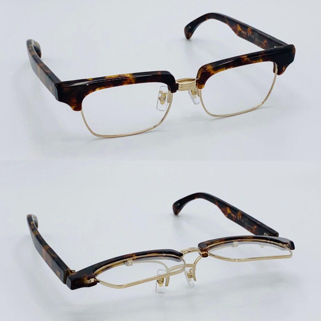 デトロな雰囲気のある手作りの跳ね上げ式眼鏡フレーム