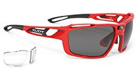レンズカーブの強いサングラスを度付きに出来るルディサングラスSINTRYX|フレームカラー:ファイアレッドグロス/レンズカラー:スモークブラック +クリア