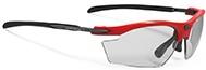 赤いフロントカラーが素敵なRUDYライドンRYDON度付きスポーツサングラス|フレームカラー:ファイアレッドグロス/レンズカラー:調光インパクトX®2 調光