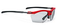 弾力性、伸縮性に優れたスポーツサングラス度入りのおすすめは、ルディ ライドンスリム|フレームカラー:ファイアレッドグロス/レンズカラー:調光インパクトX®2
