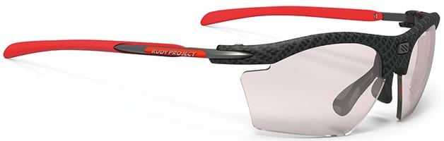 スポーツサングラスの特徴であるハイカーブレンズに度付きレンズ入れるサングラスのお奨めとして、ルディ(ライドン スリム)をご紹介|フレームカラー:カーボニウム/レンズカラー:調光レーザーレッドインパクトX®2