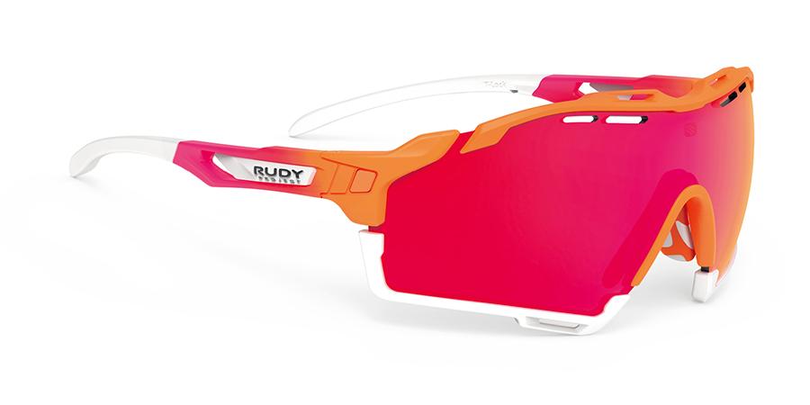 カーブ付きの度付レンズを使用すればサングラスのイメージをそのままにお勧めRUDYルディCUTLINE カットライン|フレームカラー:マンダリンFADEコーラ/レンズカラー:マルチレーザーレッド