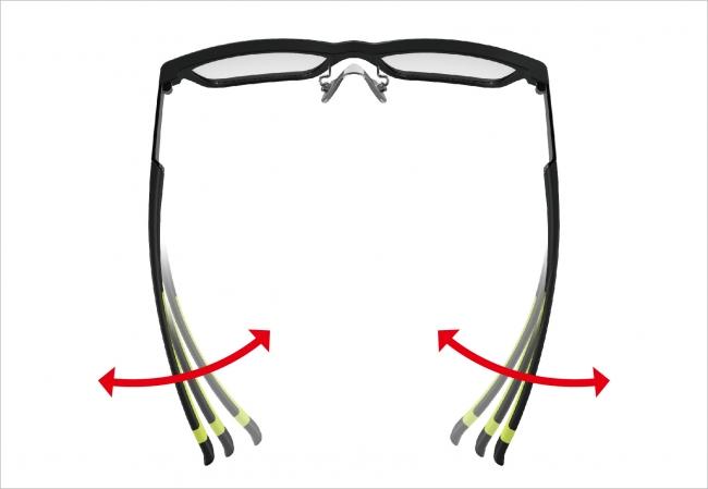 眼鏡枠のテンプルを自由自在にご自身で頭部に合わせて調整できるメガネフレーム。