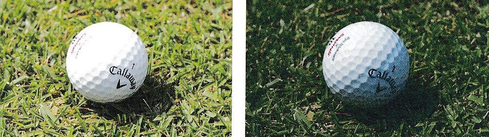 ウルトラアイスブルーレンズのゴルフボールの見え方
