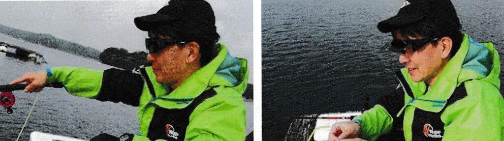 釣り時に海面を見るとき、エサを付けるときの跳ね上げサングラス