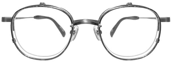 ヘキサゴンタイプの複式跳ね上げメガネ