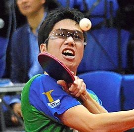 水谷選手の卓球どきのサングラス装用