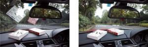 車のダッシュボードに雑誌等を置いた時の前方の見え方違い