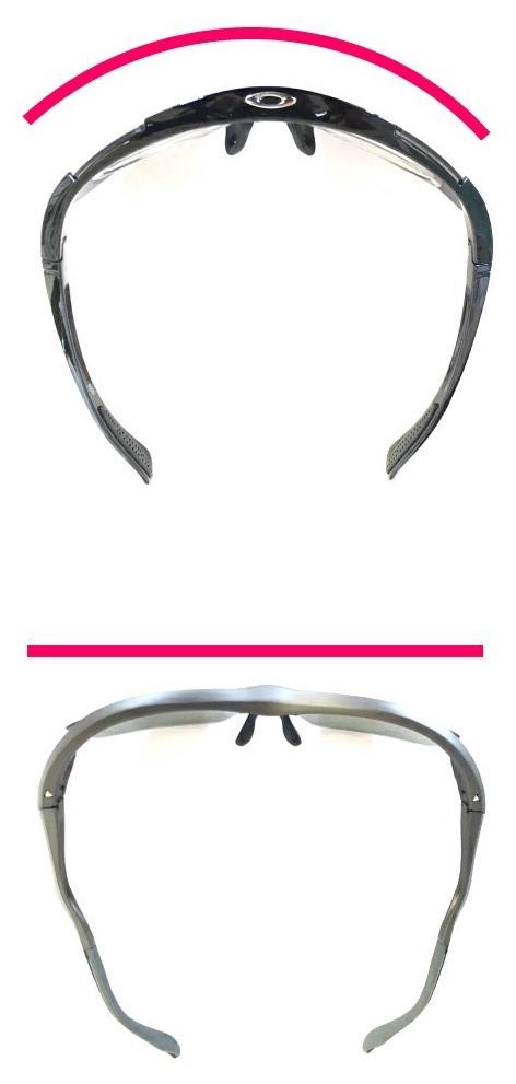 フロントカーブが違うことで普段眼鏡とスポーツメガネの違い
