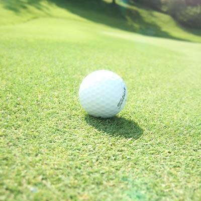 裸眼でのコース上のボールの見え方は太陽光の反射と直接的な光でボールがハッキリ捉えられない