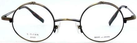 男性向きラウンドタイぷの跳ね上げメガネモービレnアンティークブラス